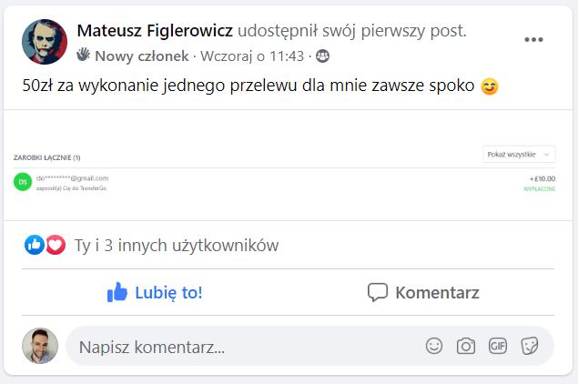 Mateusz figlerowicz 50 zl transfergo jeden przelew